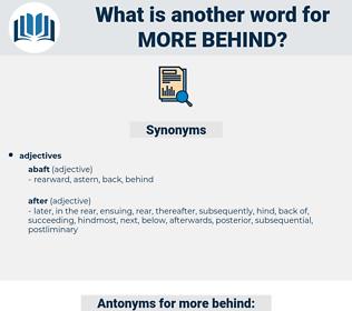 more behind, synonym more behind, another word for more behind, words like more behind, thesaurus more behind