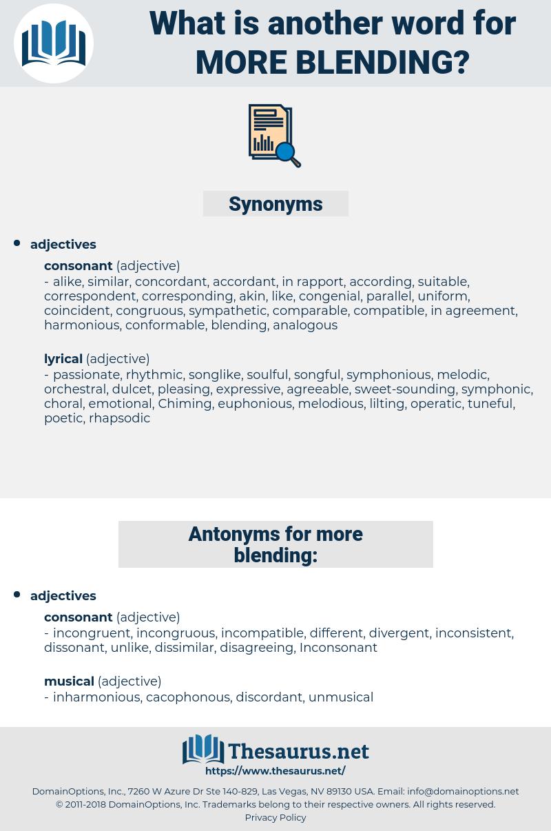 more blending, synonym more blending, another word for more blending, words like more blending, thesaurus more blending