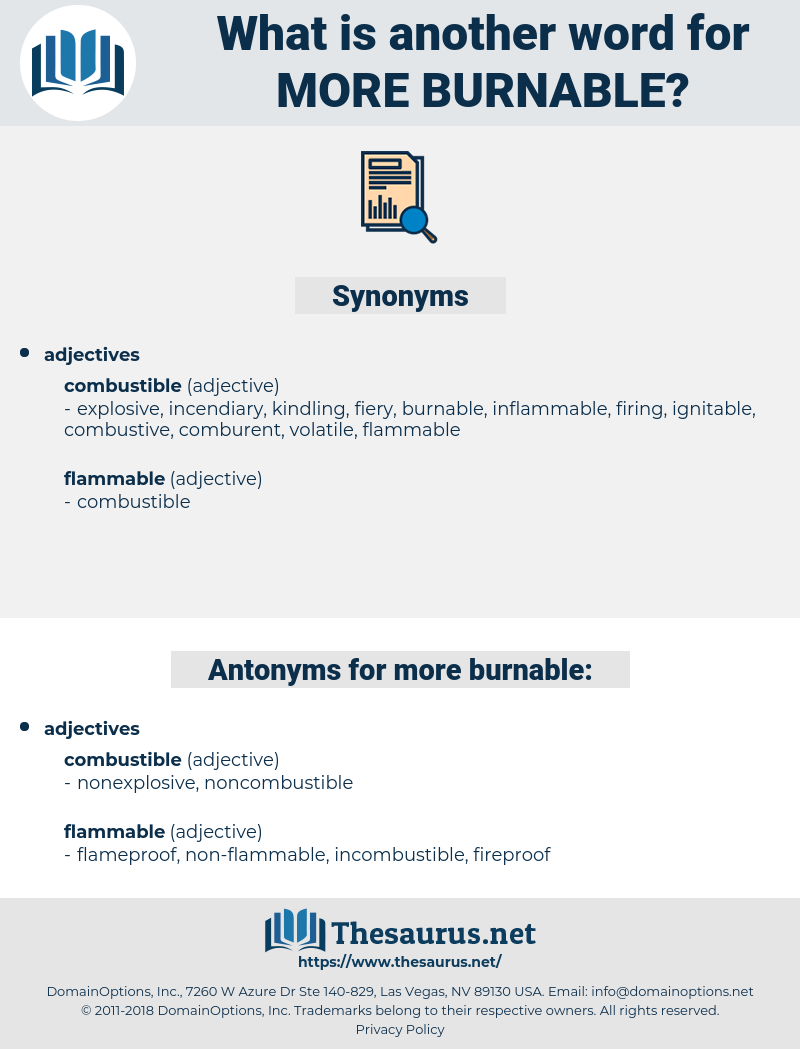 more burnable, synonym more burnable, another word for more burnable, words like more burnable, thesaurus more burnable