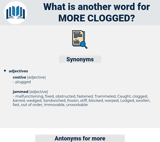 more clogged, synonym more clogged, another word for more clogged, words like more clogged, thesaurus more clogged
