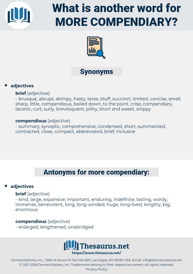 more compendiary, synonym more compendiary, another word for more compendiary, words like more compendiary, thesaurus more compendiary