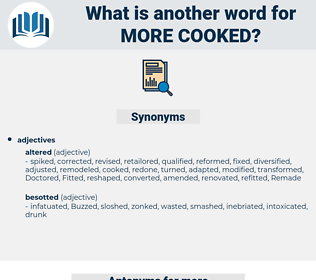 more cooked, synonym more cooked, another word for more cooked, words like more cooked, thesaurus more cooked