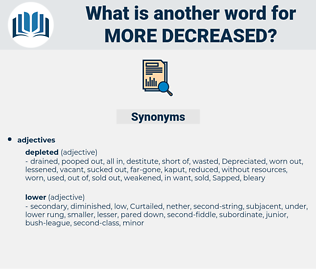 more decreased, synonym more decreased, another word for more decreased, words like more decreased, thesaurus more decreased