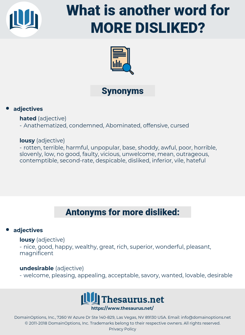 more disliked, synonym more disliked, another word for more disliked, words like more disliked, thesaurus more disliked