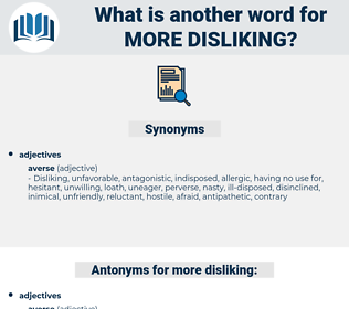 more disliking, synonym more disliking, another word for more disliking, words like more disliking, thesaurus more disliking