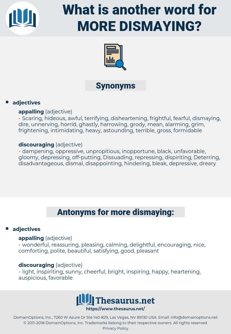 more dismaying, synonym more dismaying, another word for more dismaying, words like more dismaying, thesaurus more dismaying