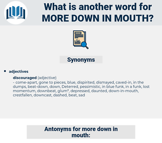 more down in mouth, synonym more down in mouth, another word for more down in mouth, words like more down in mouth, thesaurus more down in mouth