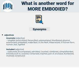 more embodied, synonym more embodied, another word for more embodied, words like more embodied, thesaurus more embodied