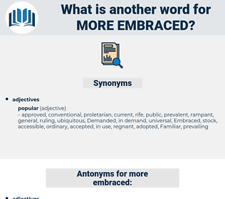 more embraced, synonym more embraced, another word for more embraced, words like more embraced, thesaurus more embraced