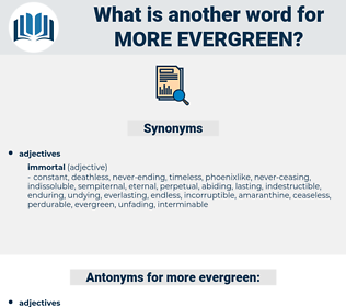 more evergreen, synonym more evergreen, another word for more evergreen, words like more evergreen, thesaurus more evergreen