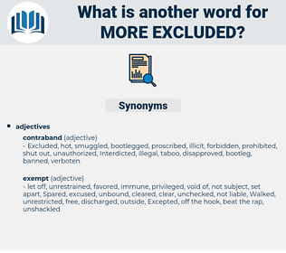 more excluded, synonym more excluded, another word for more excluded, words like more excluded, thesaurus more excluded