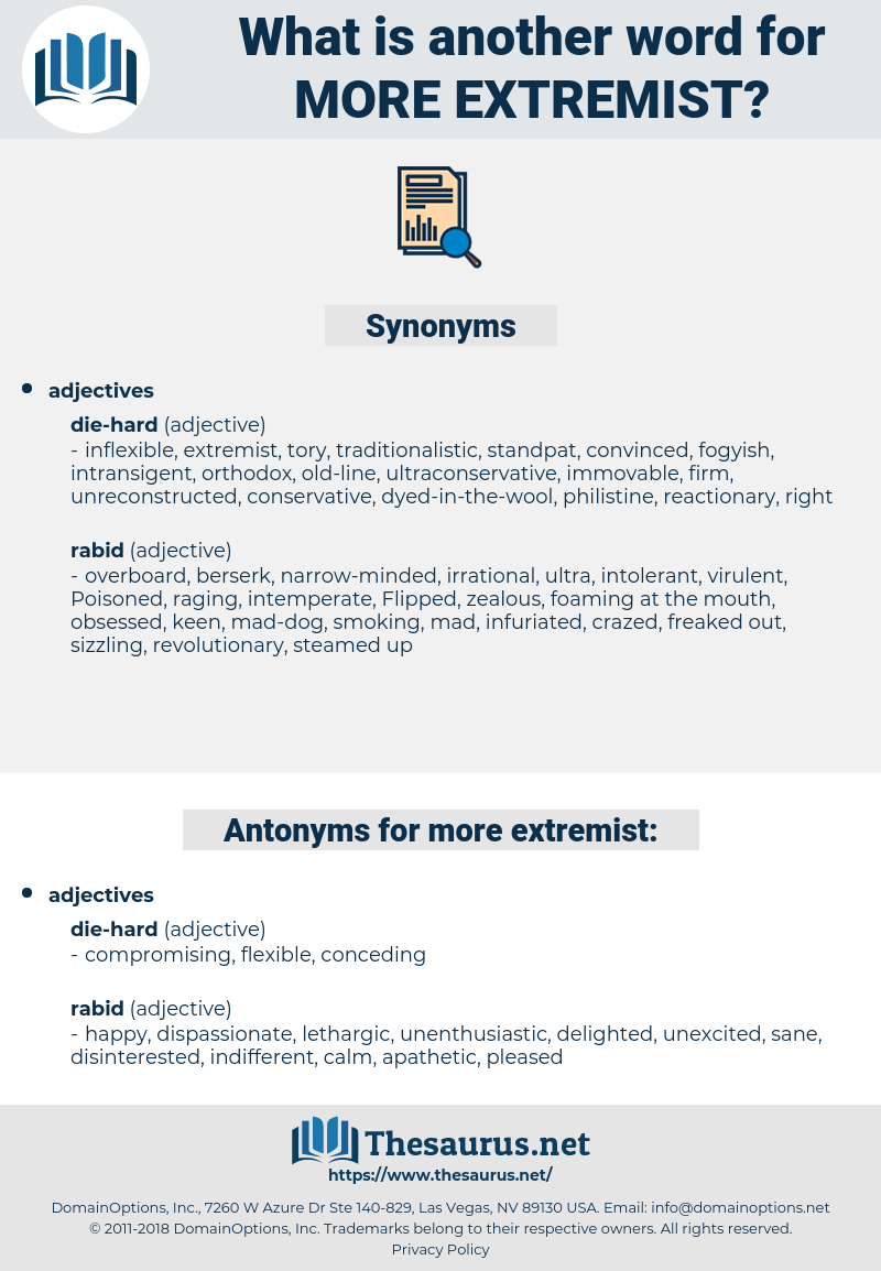 more extremist, synonym more extremist, another word for more extremist, words like more extremist, thesaurus more extremist