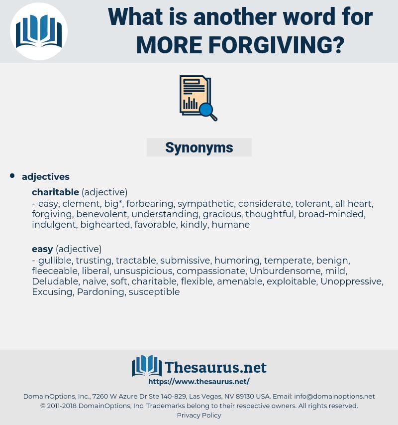 more forgiving, synonym more forgiving, another word for more forgiving, words like more forgiving, thesaurus more forgiving