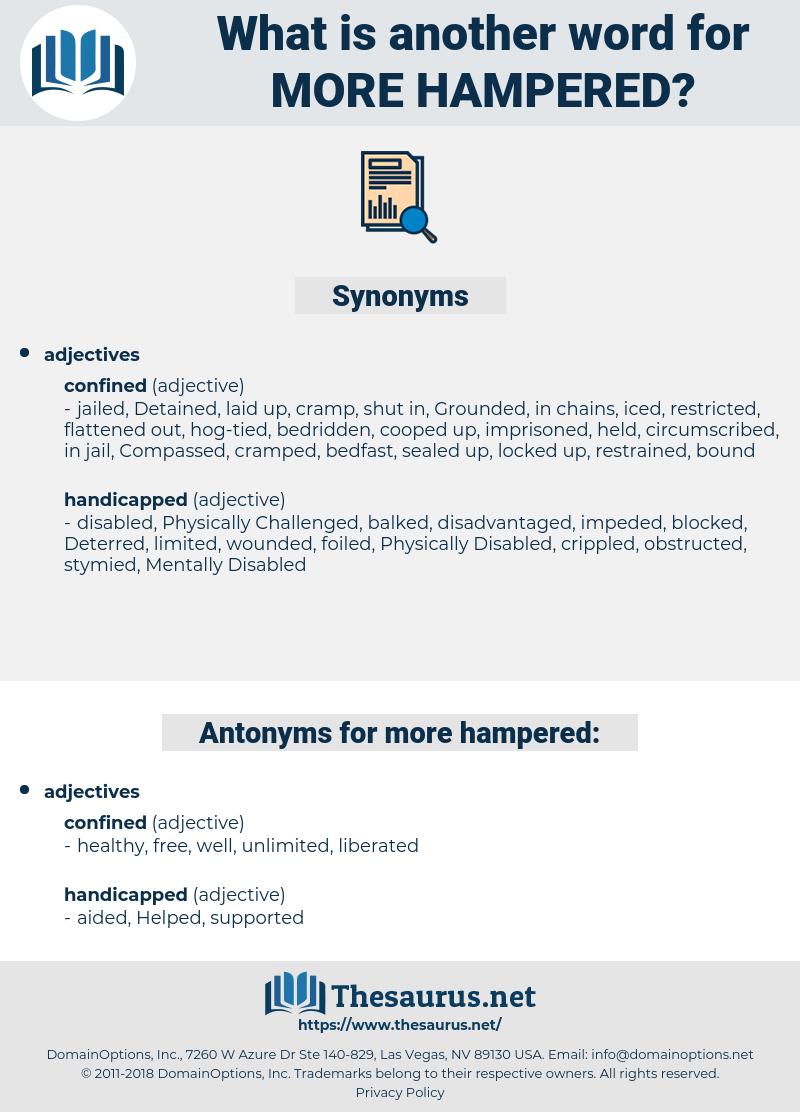 more hampered, synonym more hampered, another word for more hampered, words like more hampered, thesaurus more hampered