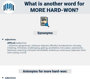 more hard-won, synonym more hard-won, another word for more hard-won, words like more hard-won, thesaurus more hard-won
