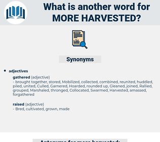 more harvested, synonym more harvested, another word for more harvested, words like more harvested, thesaurus more harvested