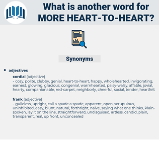 more heart-to-heart, synonym more heart-to-heart, another word for more heart-to-heart, words like more heart-to-heart, thesaurus more heart-to-heart