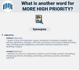 more high-priority, synonym more high-priority, another word for more high-priority, words like more high-priority, thesaurus more high-priority