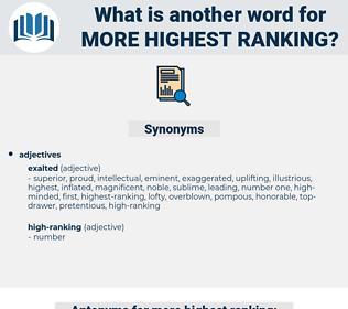 more highest ranking, synonym more highest ranking, another word for more highest ranking, words like more highest ranking, thesaurus more highest ranking