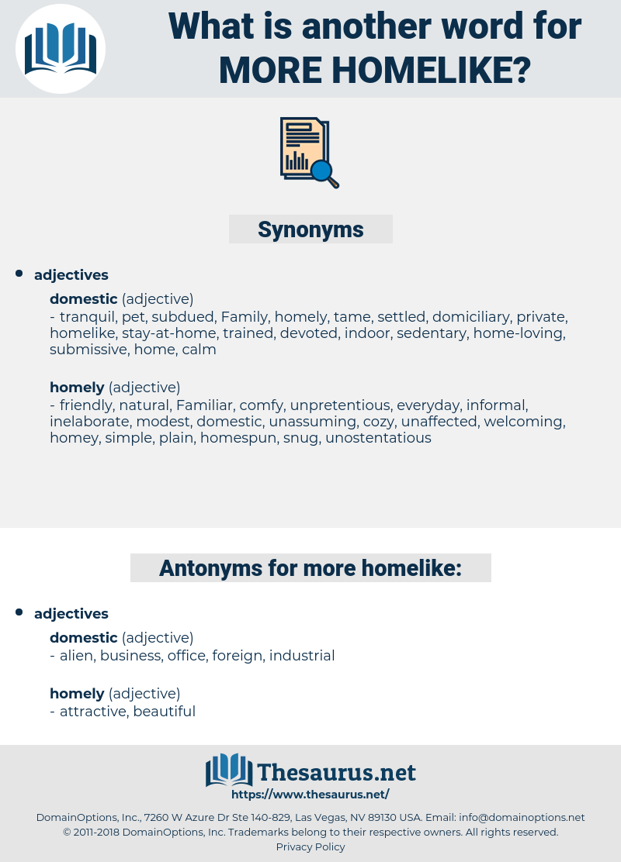 more homelike, synonym more homelike, another word for more homelike, words like more homelike, thesaurus more homelike
