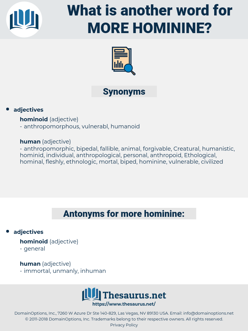 more hominine, synonym more hominine, another word for more hominine, words like more hominine, thesaurus more hominine