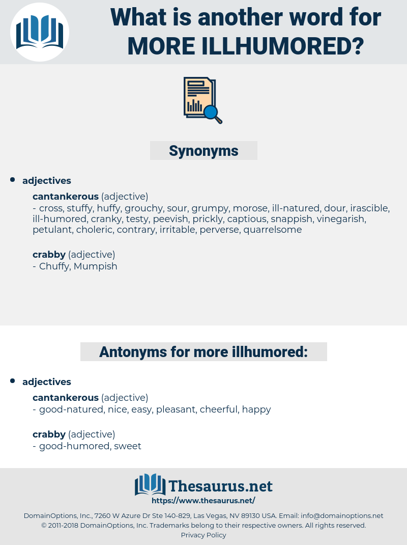 more illhumored, synonym more illhumored, another word for more illhumored, words like more illhumored, thesaurus more illhumored