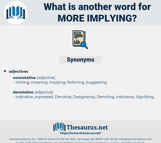 more implying, synonym more implying, another word for more implying, words like more implying, thesaurus more implying