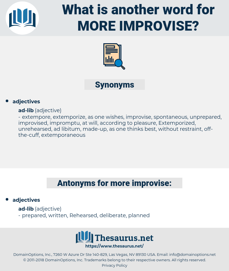 more improvise, synonym more improvise, another word for more improvise, words like more improvise, thesaurus more improvise