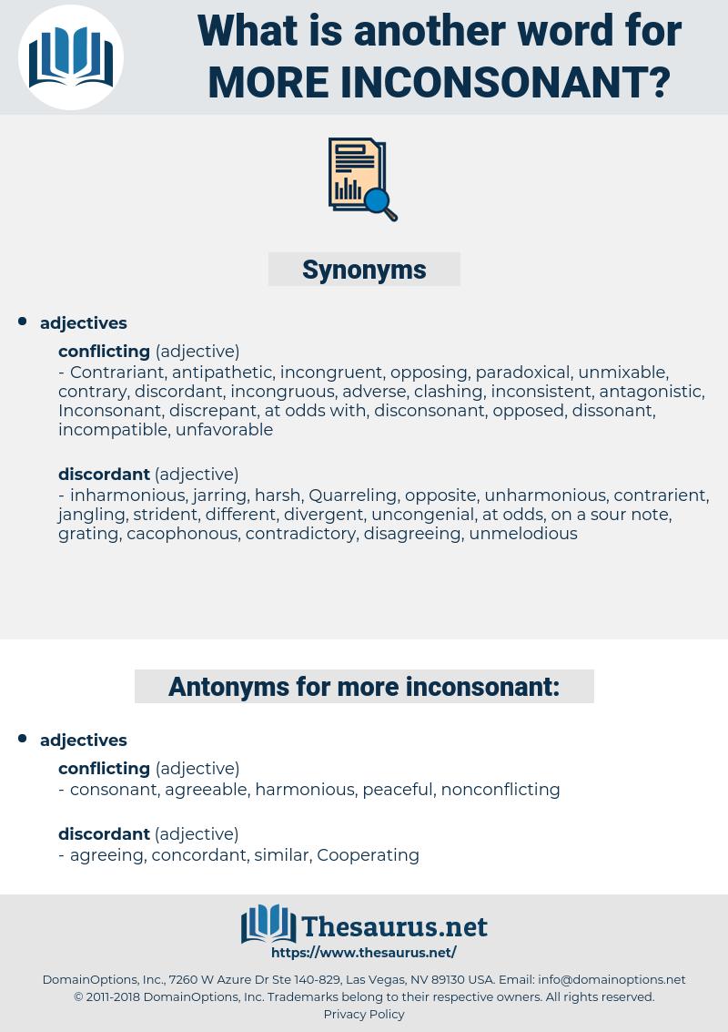 more inconsonant, synonym more inconsonant, another word for more inconsonant, words like more inconsonant, thesaurus more inconsonant