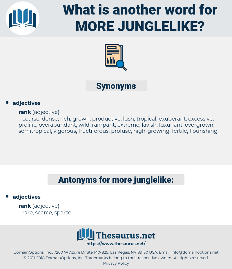 more junglelike, synonym more junglelike, another word for more junglelike, words like more junglelike, thesaurus more junglelike
