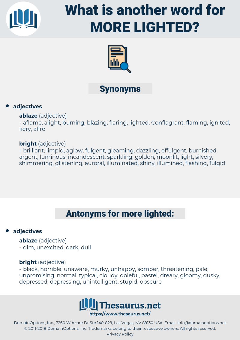more lighted, synonym more lighted, another word for more lighted, words like more lighted, thesaurus more lighted