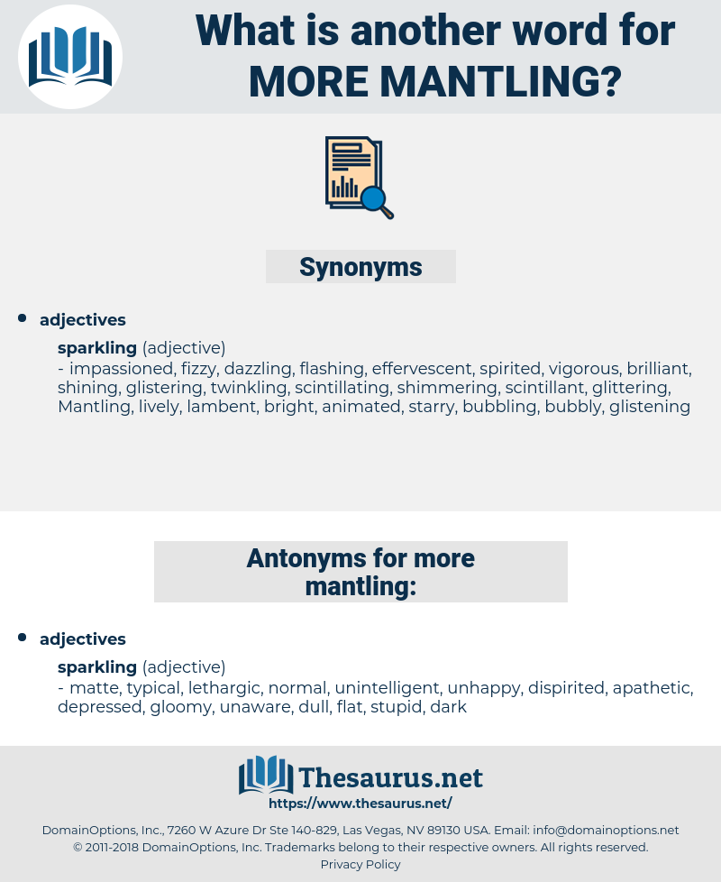 more mantling, synonym more mantling, another word for more mantling, words like more mantling, thesaurus more mantling