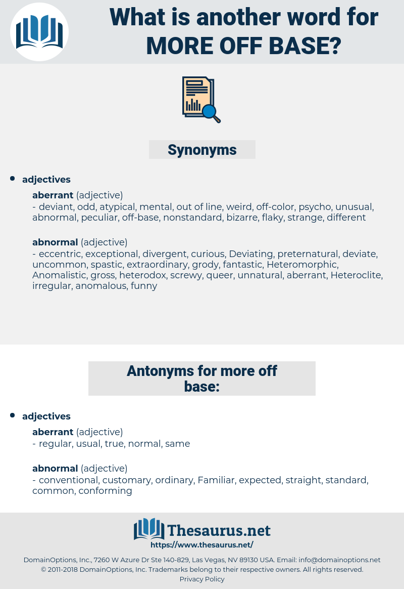 more off base, synonym more off base, another word for more off base, words like more off base, thesaurus more off base