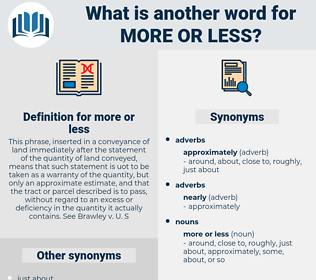 more or less, synonym more or less, another word for more or less, words like more or less, thesaurus more or less