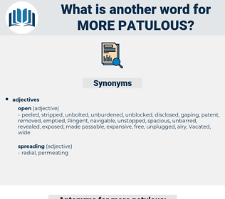 more patulous, synonym more patulous, another word for more patulous, words like more patulous, thesaurus more patulous