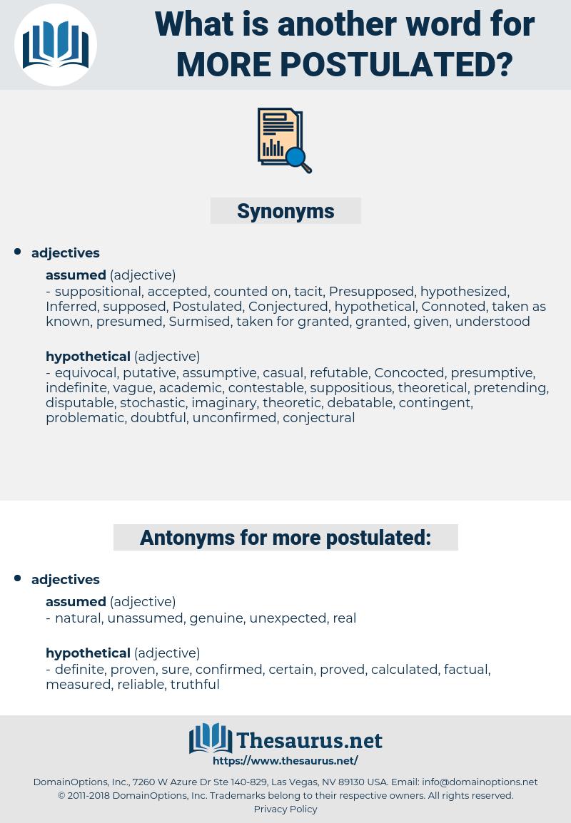 more postulated, synonym more postulated, another word for more postulated, words like more postulated, thesaurus more postulated