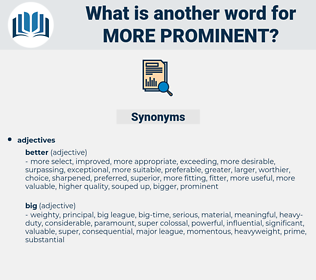 more prominent, synonym more prominent, another word for more prominent, words like more prominent, thesaurus more prominent