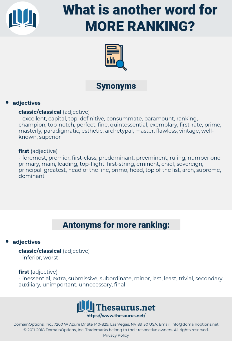 more ranking, synonym more ranking, another word for more ranking, words like more ranking, thesaurus more ranking