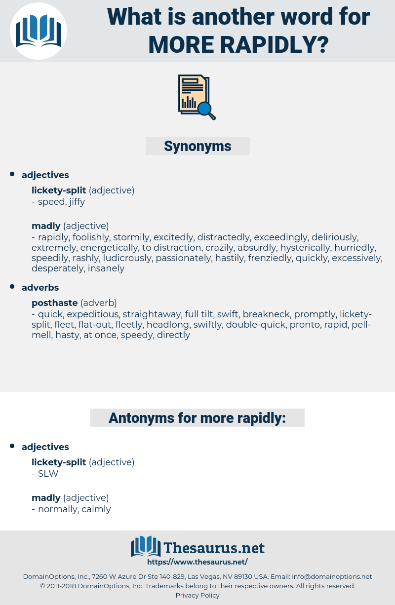 more rapidly, synonym more rapidly, another word for more rapidly, words like more rapidly, thesaurus more rapidly