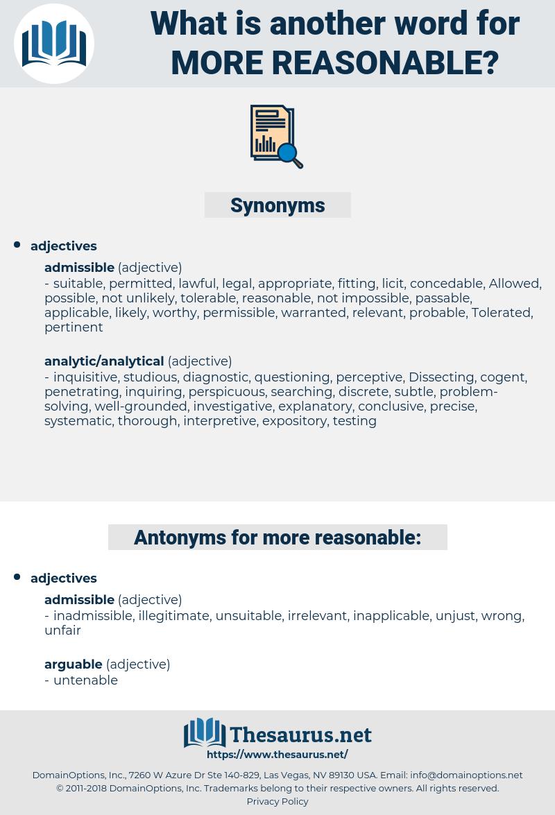 more reasonable, synonym more reasonable, another word for more reasonable, words like more reasonable, thesaurus more reasonable