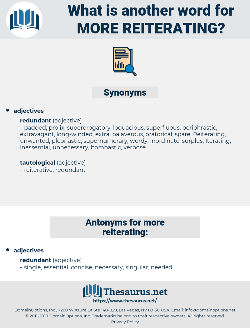 more reiterating, synonym more reiterating, another word for more reiterating, words like more reiterating, thesaurus more reiterating
