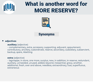 more reserve, synonym more reserve, another word for more reserve, words like more reserve, thesaurus more reserve