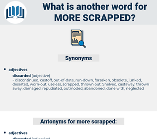 more scrapped, synonym more scrapped, another word for more scrapped, words like more scrapped, thesaurus more scrapped