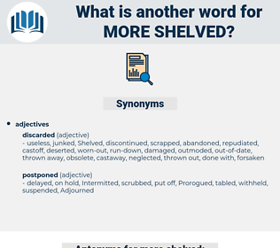 more shelved, synonym more shelved, another word for more shelved, words like more shelved, thesaurus more shelved