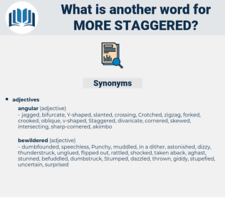 more staggered, synonym more staggered, another word for more staggered, words like more staggered, thesaurus more staggered