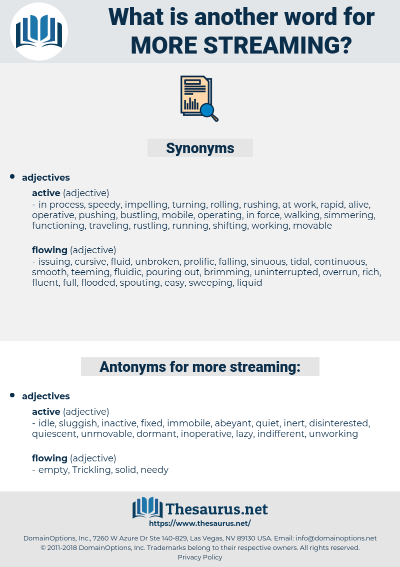 more streaming, synonym more streaming, another word for more streaming, words like more streaming, thesaurus more streaming