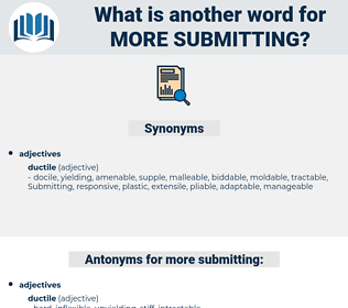 more submitting, synonym more submitting, another word for more submitting, words like more submitting, thesaurus more submitting
