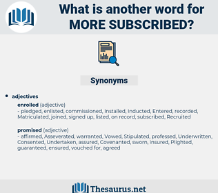 more subscribed, synonym more subscribed, another word for more subscribed, words like more subscribed, thesaurus more subscribed
