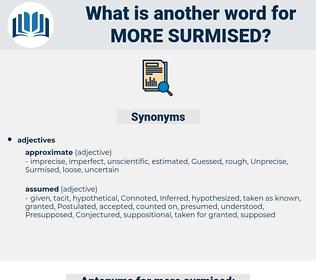 more surmised, synonym more surmised, another word for more surmised, words like more surmised, thesaurus more surmised