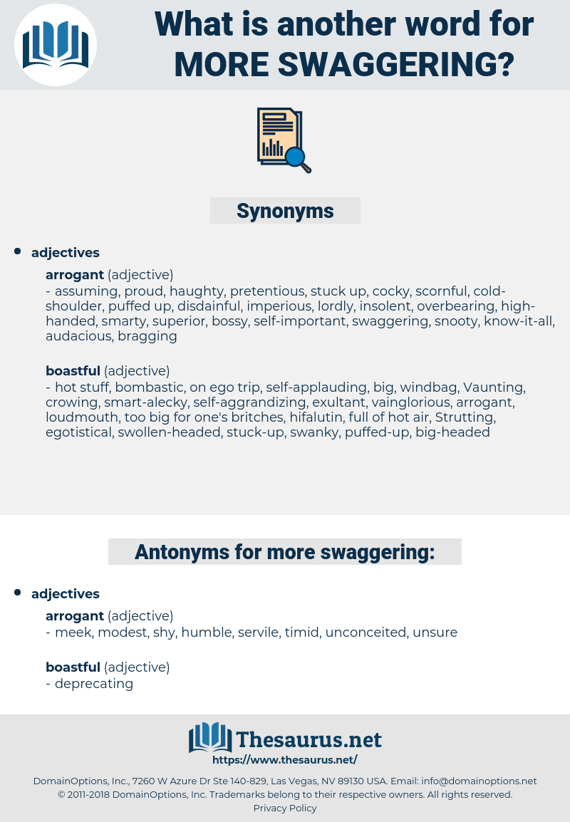 more swaggering, synonym more swaggering, another word for more swaggering, words like more swaggering, thesaurus more swaggering